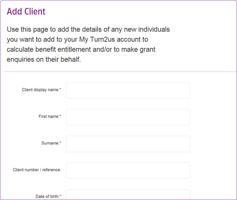 Screengrab of Intermediaries Add Client page