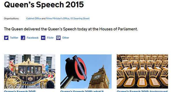 Gov.UK website landing page for information about the Queen's Speech 2015