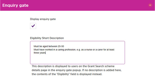 Screengrab of the enquiry gate option