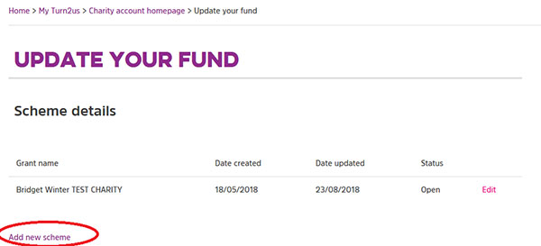 Screengrab of the Update Your Fund landing page