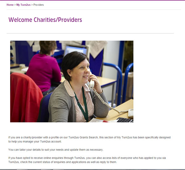 Screengrab of Charity welcome page