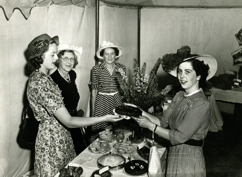 Historic image of cake sale for the distressed gentlefolk aid association