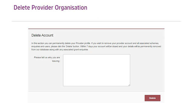 Screengrab of Delete Provider Organisation page