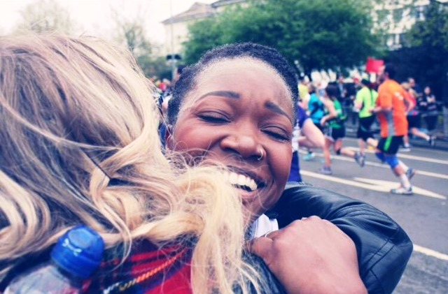 An emotional Hope after completing the marathon