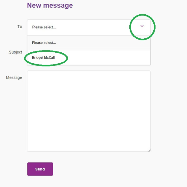 Screengrab showing how to select an enquirer to send a message to