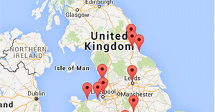 Map of United Kingdom and pins of workshops