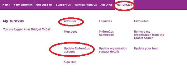 Screengrab showing the Add user and Update MyTurn2us account options