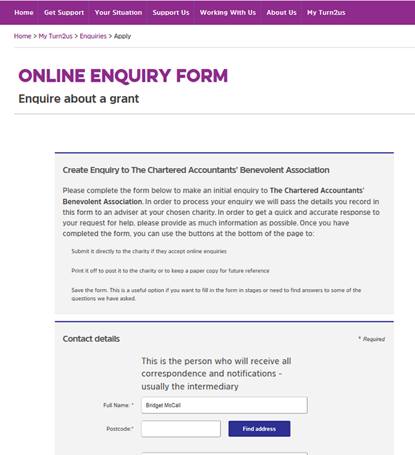 Screengrab of the top of the enquiry form