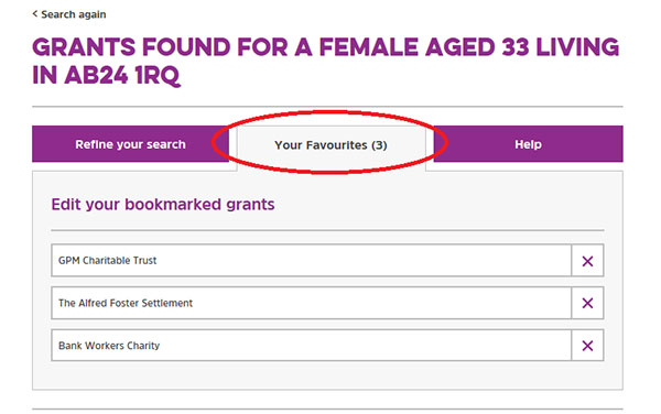 Screengrab showing the Favourites tab on the Turn2us Grants Search