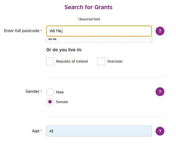 Screengrab of the first part of the Turn2us Grants Search