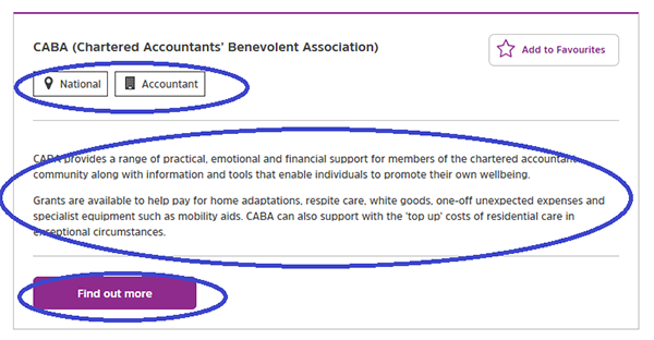 Screengrab showing a charity profile summary