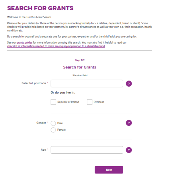 Screengrab showing the first page of the Turn2us Grants Search