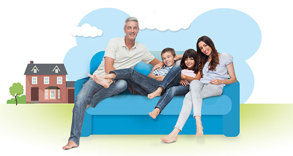 CABA infographic showing a family of 4 sitting on a sofa