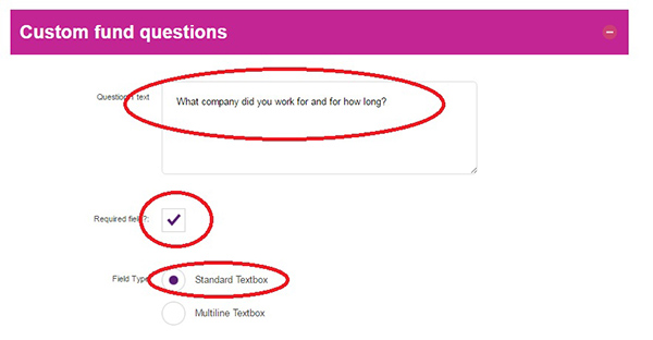 Screengrab of the Question 1 field of Custom fund questions section