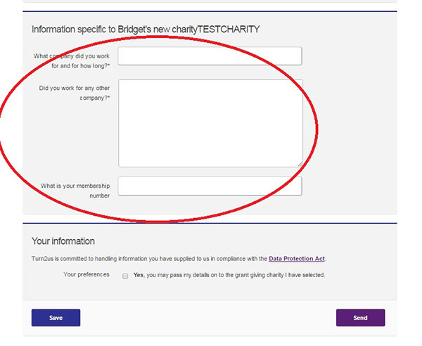 Screengrab of example Custom fund questions on the Turn2us online enquiry form