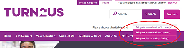Screengrab showing the multiple charities dropdown box