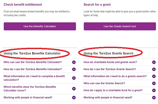 Screengrab of the Find Benefits and Grants page