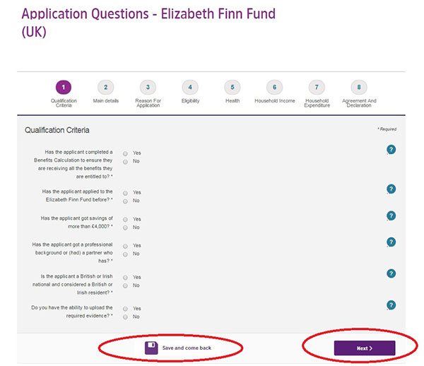 Screengrab of the first page of the Elizabeth Finn Fund (UK) application form