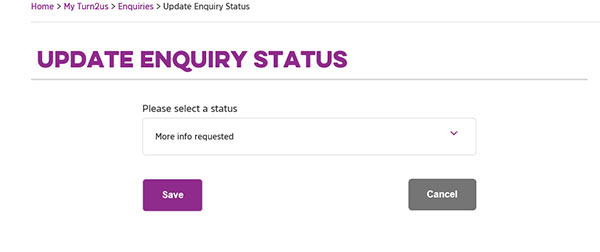 Screengrab showing Update Enquiry Status page