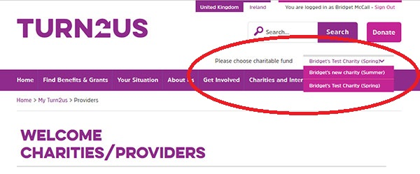 Screengrab showing where to choose your charitable fund from