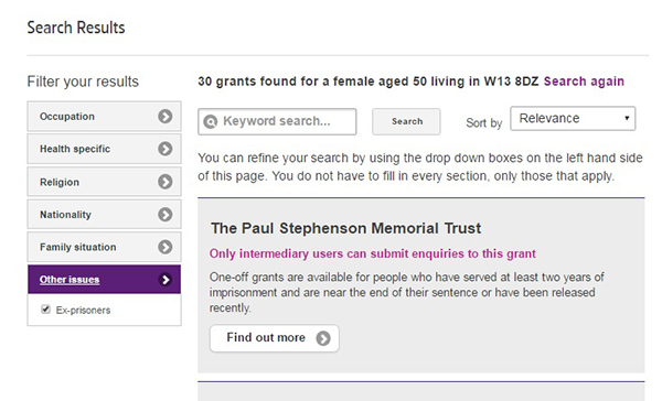 Screengrab of the intermediaries Grants Search
