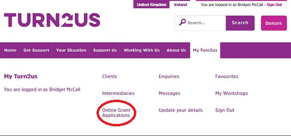 Screengrab of the Intermediary MyTurn2us menu highlighting the Online Grant Applications link