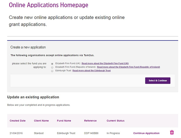 Screengrab of Online Applications Homepage