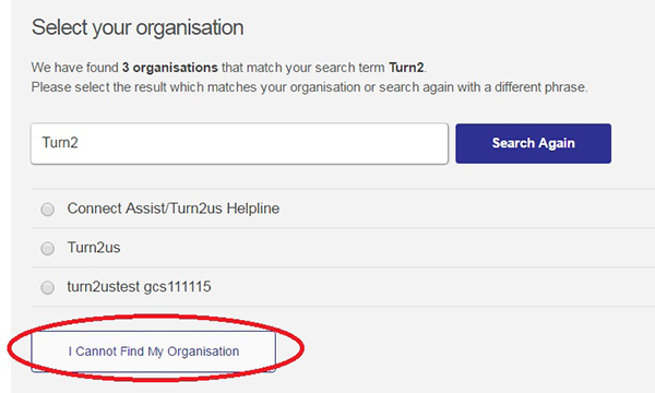 Screengrab of I cannot find my organisation section
