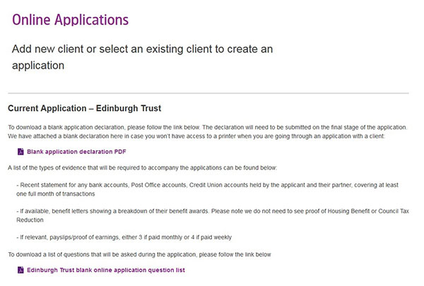 Screengrab of Online Applications Client page - Edinburgh Trust