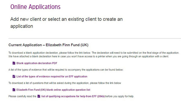Screengrab of Online Applications Client page - Elizabeth Finn Fund