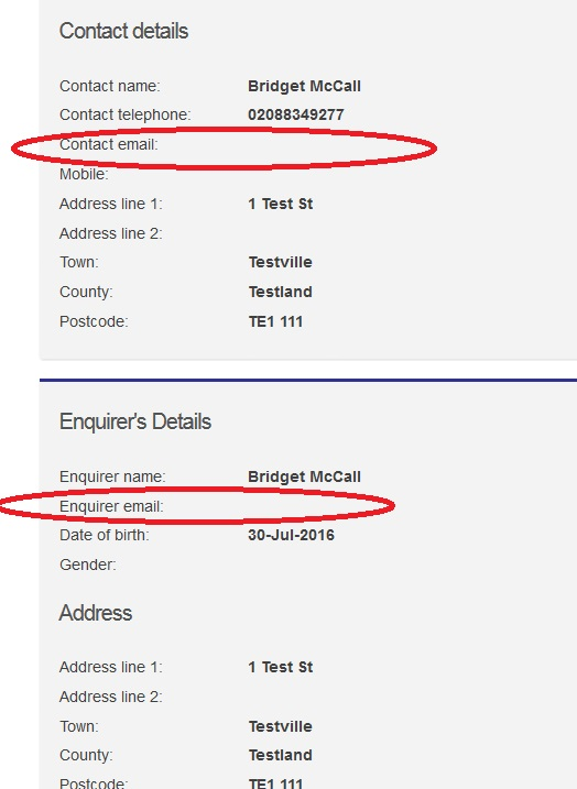 Screengrab of emplty contact email fields on the Turn2us Grants Search enquiry form