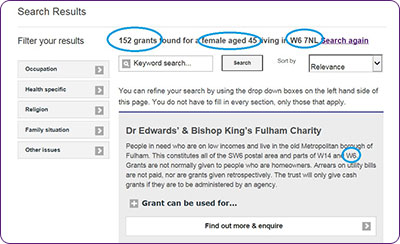Screengrab of Turn2us Grants Search second page showing results of a first Search
