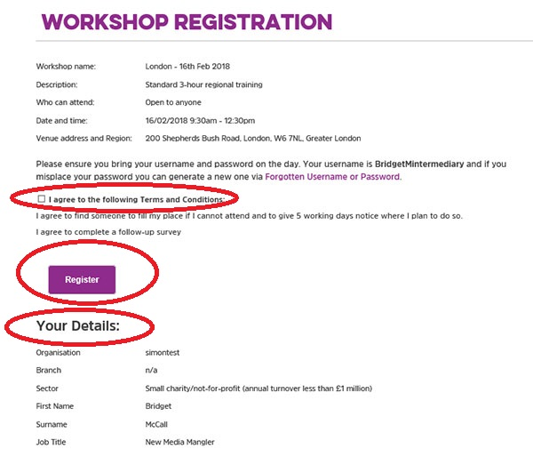 Screengrab of the workshop registration page
