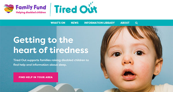 Screengrab of the Family Fund Tired Out online sleep resource