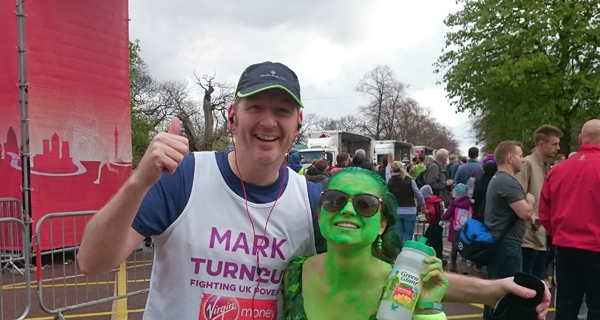 Mark Cowan and friend at London Marathon finish line