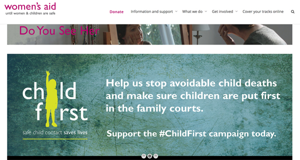 Screengrab of the Women's Aid website