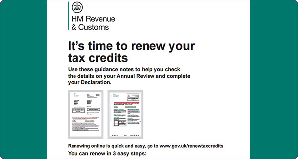 Renew your tax credits screen on the HM Revenue & Customs website