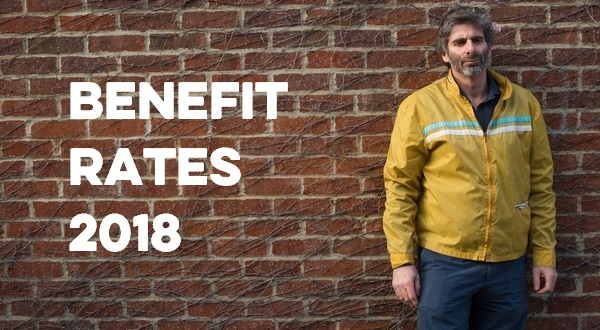 man by wall - Benefit rates 2018 on wall