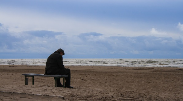 old man alone by the sea