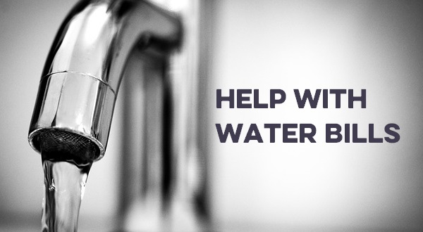 Running tap with the words 'help with water bills'