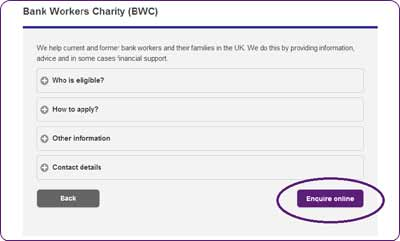 Screengrab showing a sample profile for a charity on the Turn2us Grants Search