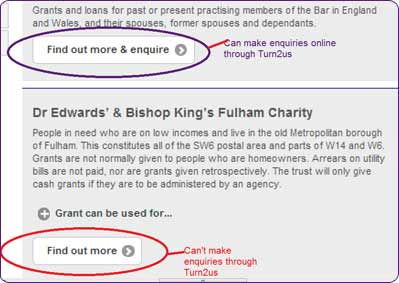 Screengrab showing the 'enquiry buttons' for the Turn2us Grants Search