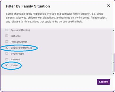 Screengrab of Family situation filter of the Turn2us Grants Search