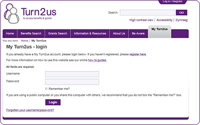 Screengrab of Turn2us login page