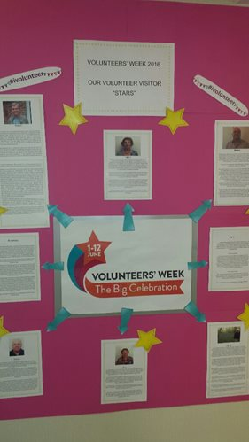 Display board of Volunteer case study